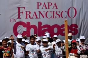 Catholic faithful attend an open-air mass by Pope Francis in San Cristobal de Las Casas, Chiapas, on February 15, 2016. Thousands of indigenous Mexicans flocked on Monday to a field in the impoverished southern state of Chiapas to attend Pope Francis' mass in three native languages. AFP PHOTO / GABRIEL BOUYS / AFP / GABRIEL BOUYS (Photo credit should read GABRIEL BOUYS/AFP/Getty Images)