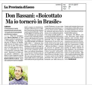 "Don Bassani: "" Boicottato, ma io tornerò in Brasile"""